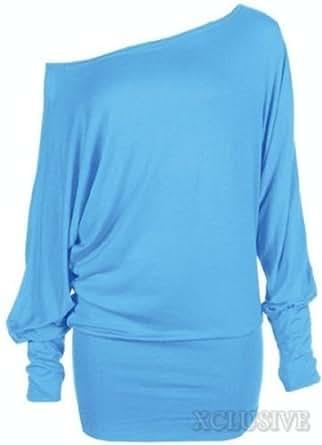 nouvelles dames plus la taille de l'épaule ample chauve-souris à long empoté manches robe top (36/38, Turquoise)