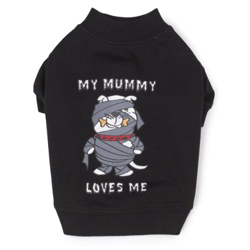 Casual Canine Polyester/Cotton Mummy Loves Me Tee, Medium, 16-Inch, Black front-627350