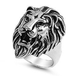 Stainless Steel Royal Lion Ring - Size 12