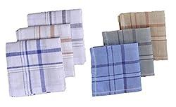 S4S 100% Cotton 3 Striped and 3 Multicolor Handkerchiefs