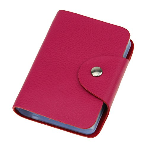 26 Pockets Business Card Holder, WITERY Versatile Soft Premium Leather Business Card Wallets / Credit Card Holder / Business Card Cover / Bank Card Bag Rose Red
