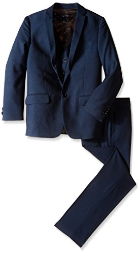 Isaac Mizrahi Big Boys' 3 Piece. Square Weave Suit, Navy, 16