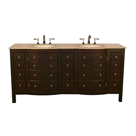 "Silkroad Exclusive HYP-0704-T-UIC-72 72"" Double Sink Cabinet with 12 Drawers 4 Doors Travertine Top and Undermount White Ceramic Sinks (3-Hole) in Espresso"