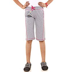 Menthol Girls Capri (5-6 Years, Greymelange)