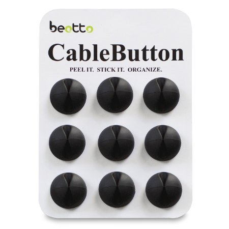 Multipurpose Cable Clips (9-Pack) - Solid Black - 3M Adhesive for Strong Long Lasting Hold - Excellent Cable Management Solution for Your Desktop, Computer, Car, Smartphone / Cell Phone / iPhone Chargers, USB Cords, and Accessories - Great Value - Beotto CableButton -