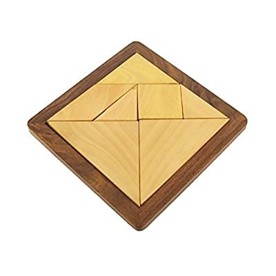 ShalinIndia Square Handmade Wood Tangram Puzzle Game Set with 7 Pieces - 6 Inches by 6 Inches - Great Gift for Kids
