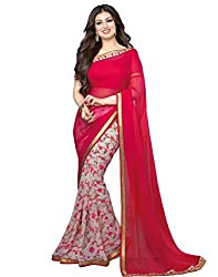 Arth Fashion Women's Georgette printed Saree With Blouse Piece (AYESHA15_Pink_FreeSize)