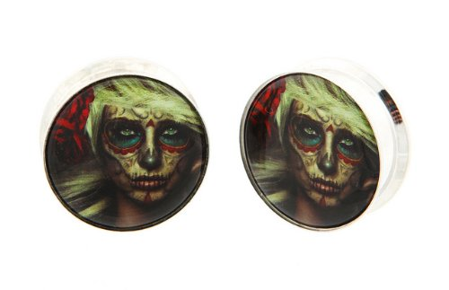"13/16"" 20Mm 316L Stainless Steel Stash Hot Blonde Girl Day Of The Dead Sugar Skull Dia De Los Muertos Internally Threaded Logo Ear Gauges Plugs (Sold By Pair)"