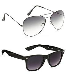 Allen Cate Combo of Black Dual Shade Wayfarer & Grey Aviator Sunglasses