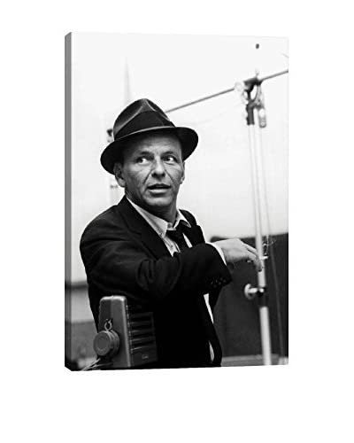 Retro Images Frank Sinatra Leaning On Microphone Archive Gallery-Wrapped Canvas Print