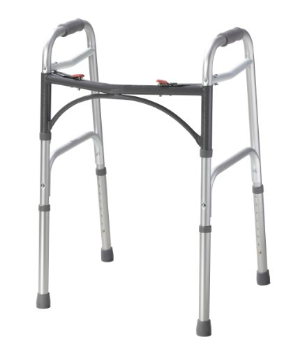 Drive-Medical-10200-1-Deluxe-Two-Button-Folding-Walker-Silver