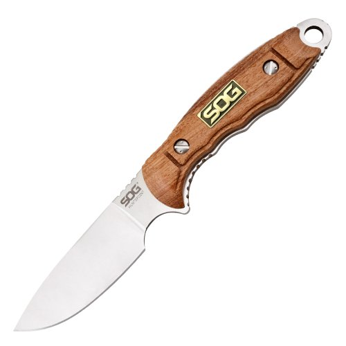 Sog Specialty Knives & Tools Ht013L-Cp Huntspoint Skinning Knife With Straight Edge 3.6-Inch S30V Steel Blade And Rosewood Wood Handle, Satin Finish