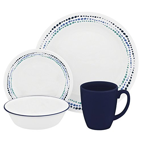 Corelle Livingware 32-Piece Dinnerware Set, Ocean Blues, Service for 8 (Two 16-Piece Sets) (32 Piece Corelle Dinnerware Set compare prices)