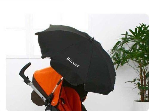 セレブ愛用 ベビーカー用パラソル UVカット雨晴兼用 傘入れ付き(ビニール製) (黒)