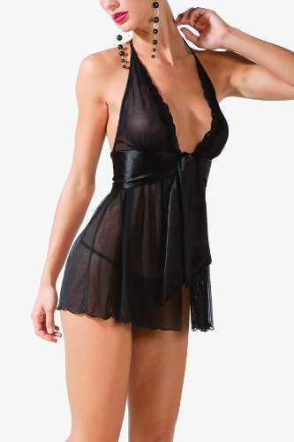 Women's sexy halter lingerie dress