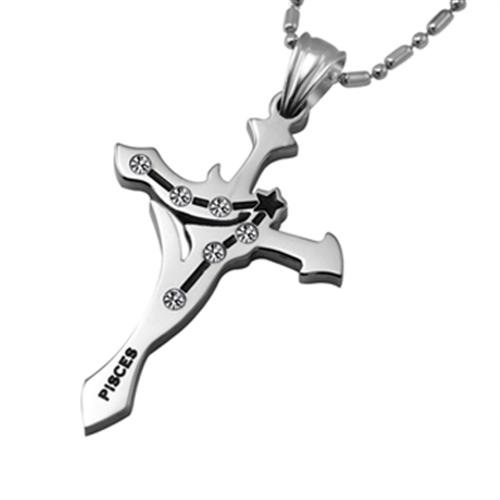 Opk Jewellery Fashion Stainless Steel Necklace Unique Pisces Cubic Zirconia Neckwear Chains Cross Pendants For Men's And Women's Gift Silver Color