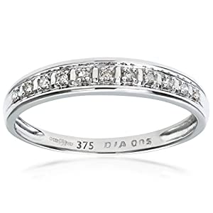 Ariel 9ct White Gold Diamond Pave Set Eternity Ring