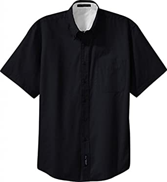 Port Authority Men's Button-Down Collar Shirt_Black/Light Stone_X-Small