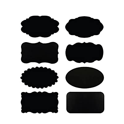 "Allydrew Set of 32 Chalkboard Labels / Chalkboard Stickers for Organizing, Labeling, Gift Tags, Drink / Wine Markers, and Weddings With White Chalk Pen- 2.5"" x 1.5"""