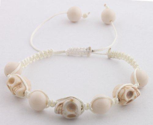 White Skulls and Beaded Balls Adjustable Bracelet Macrame Shamballah