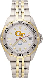 Georgia Tech Yellowjackets Mens All Star Watch Stainless Steel Bracelet by Logo Art