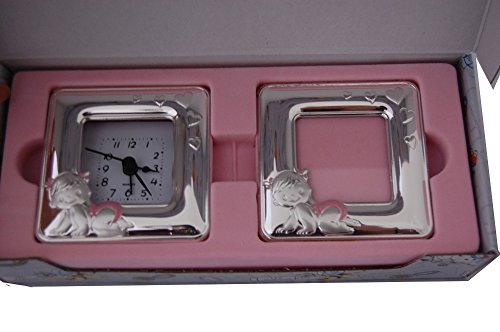 Silver Touch USA Sterling Silver Picture Frame and Clock Set, Pink