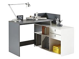 Bureau d 39 angle blanc gris gauche et droite tiroirs for Bureau d angle conforama