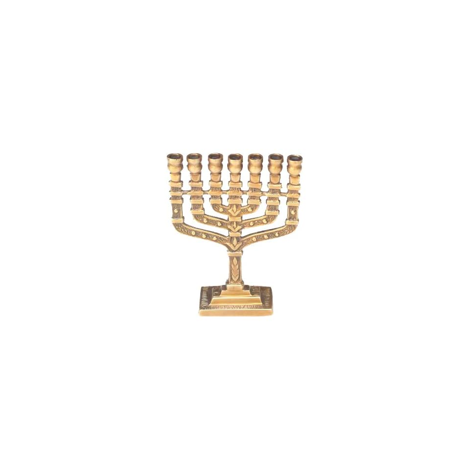 Menorah 7 Candle with Antique Brass Finish 3.25x1x4.5 H