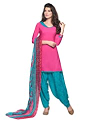 Inddus Women Pink & Teal Crepe Unstitched Dress Material