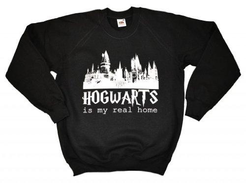 21 Century Clothing Unisex Adults Hogwarts Is My Real Home Sweatshirt Medium (42-44 Inches) Black