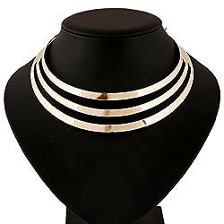 Aaishwarya Flashy Golden layered Choker Necklace Statement Bib Necklace For Women & Girls