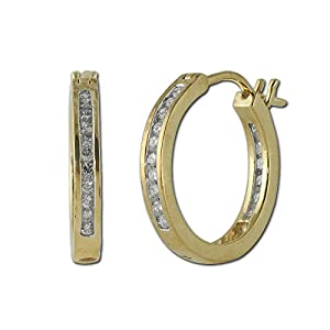 Diamond Inside Out Hoop Earrings 0.50ct tw in 14K Yellow Gold