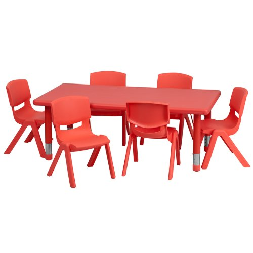 Flash Furniture 24'' X 48'' Adjustable Rectangular Red Plastic Kids Activity Table Set With 6 School Stack Chairs [Yu-Ycx-0013-2-Rect-Tbl-Red-E-Gg]