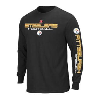 NFL Pittsburgh Steelers Primary Receiver III Long Sleeve T-Shirt, Black, Large