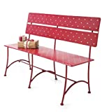 Polka Dot Indoor/Outdoor Iron Bench, in Red