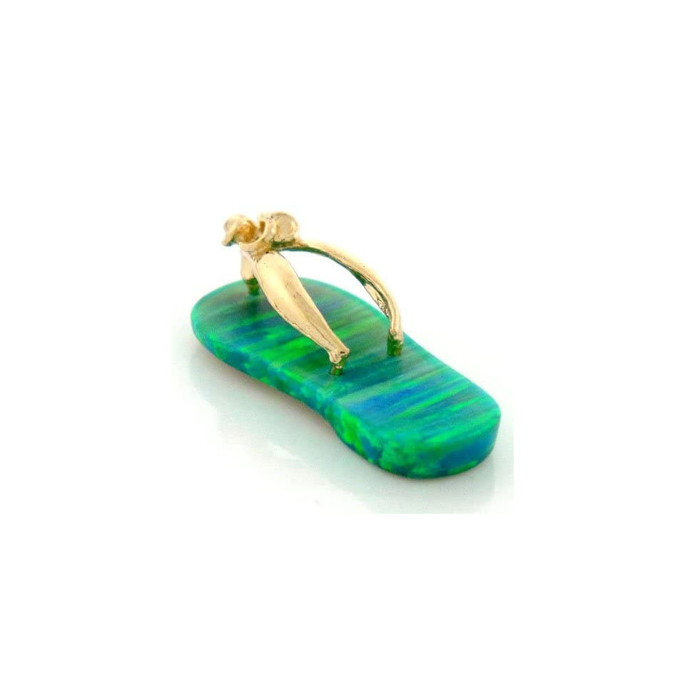 14K Gold Lime Green Opal Flip Flop Sandal Shoe Pendant
