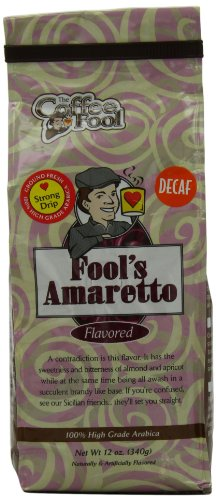The Coffee Fool Strong Drip Grind, Fool'S Decaf Amaretto, 12 Ounce