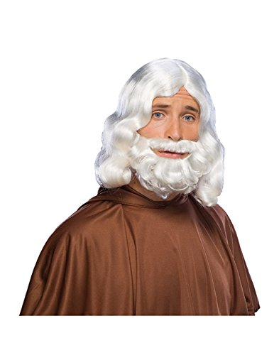 God Costume Wig Zeus Beard Jesus White Outfit Headpiece