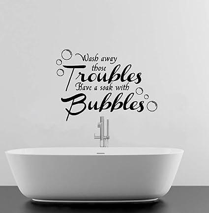 sticker mural en vinyle pour pour salle de bain wash wash away your troubles cuisine. Black Bedroom Furniture Sets. Home Design Ideas