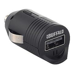 iBUFFALO 【iPhone6,iPhone6 Plus 動作確認済】クルマのシガーソケットから充電できる 超小型USBシガーチャージャー スマートフォン全キャリア・全機種対応 シガー充電アダプター1ポートタイプ ブラック BSMPA07BK