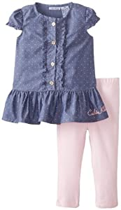 Calvin Klein Baby-Girls Infant Chambray Top with Leggings by Calvin Klein