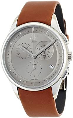 Calvin Klein Men's 'Basic' Swiss Quartz Stainless Steel and Leather Automatic Watch, Color:Brown (Model: K2A27141)