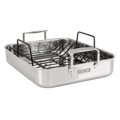 """Viking 16"""" by 13"""" by 3"""" 3-Ply Mirror Finish Roasting Pan with Non-Stick Rack, Large, Silver"""