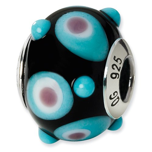 Black Polka Dot Murano Glass and .925 Sterling Silver Bead