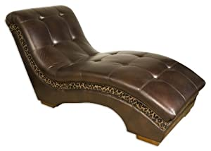 """Uttermost 71"""" Inch Divinity Chaise Dark Chocolate Faux Leather, Button Tufted & Accented"""