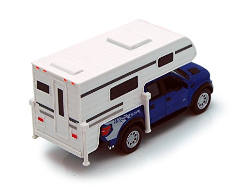 Blue 6-inch 2013 Ford F-150 SVT Raptor SuperCrew Camper 1/46 Scale with Pullback Action - 1