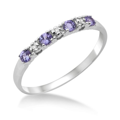 Eternity Ring, 9ct White Gold, Diamond and Tanzanite Claw Set Eternity Ring, Size N, by Miore, MT016TRO