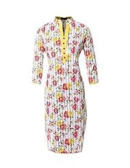 Azra Jamil Fine Cotton Multicolor Floral Printed Traditional Kurti For Women's