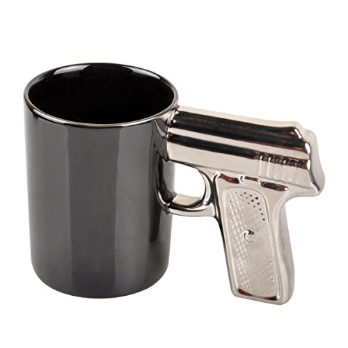 HLJgift Novelty Ceramic Coffee Mugs Gun Mugs Pistol Cup for amazing gift Black&Silver (Guns And Coffee Cup compare prices)