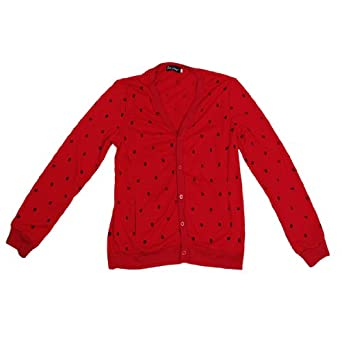 Men Slim Fit Skull Print Long Sleeve Cardigan Style Fall Coat Red S